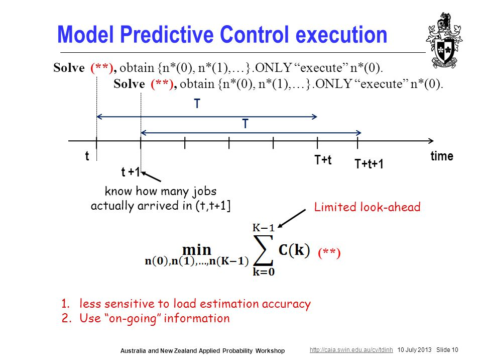 http://caia.swin.edu.au/cv/tdinhhttp://caia.swin.edu.au/cv/tdinh 10 July 2013 Slide 10 Australia and New Zealand Applied Probability Workshop Model Predictive Control execution time T+t t T Solve (**), obtain {n*(0), n*(1),…}.ONLY execute n*(0).