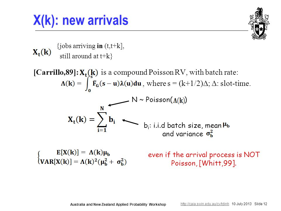 http://caia.swin.edu.au/cv/tdinhhttp://caia.swin.edu.au/cv/tdinh 10 July 2013 Slide 12 Australia and New Zealand Applied Probability Workshop X(k): new arrivals [Carrillo,89]: is a compound Poisson RV, with batch rate:, where s = (k+1/2)Δ; Δ: slot-time.