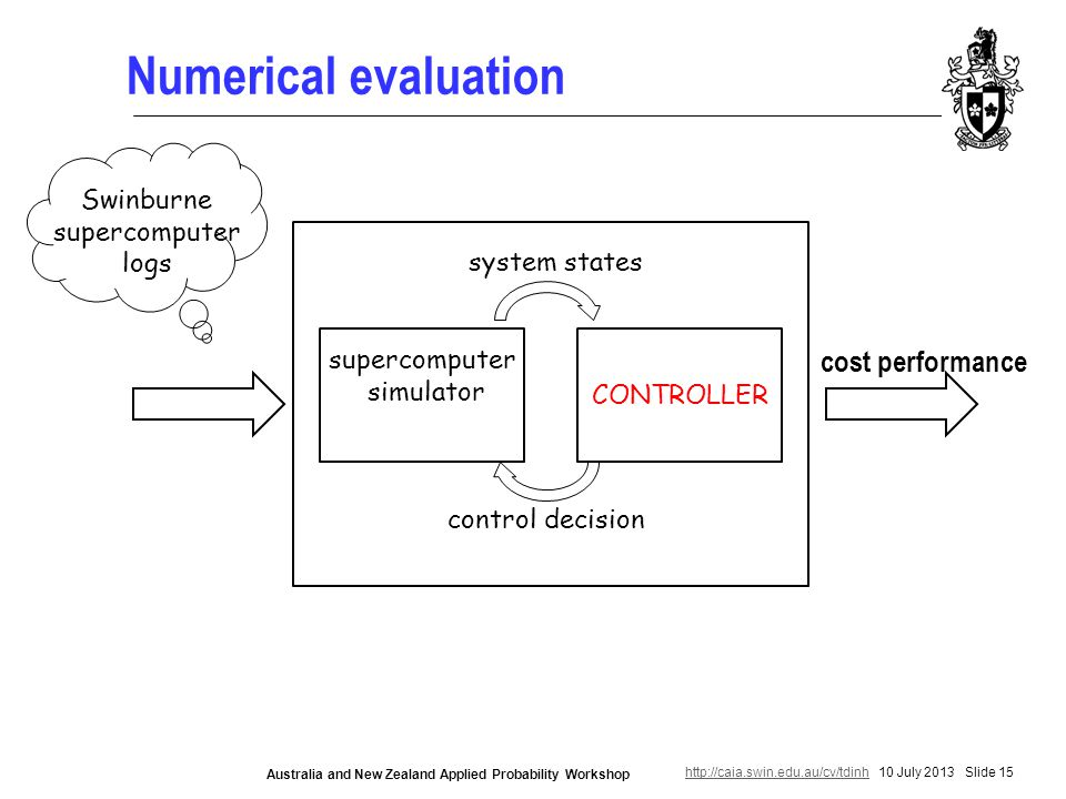http://caia.swin.edu.au/cv/tdinhhttp://caia.swin.edu.au/cv/tdinh 10 July 2013 Slide 15 Australia and New Zealand Applied Probability Workshop Numerical evaluation supercomputer simulator CONTROLLER system states control decision Swinburne supercomputer logs cost performance