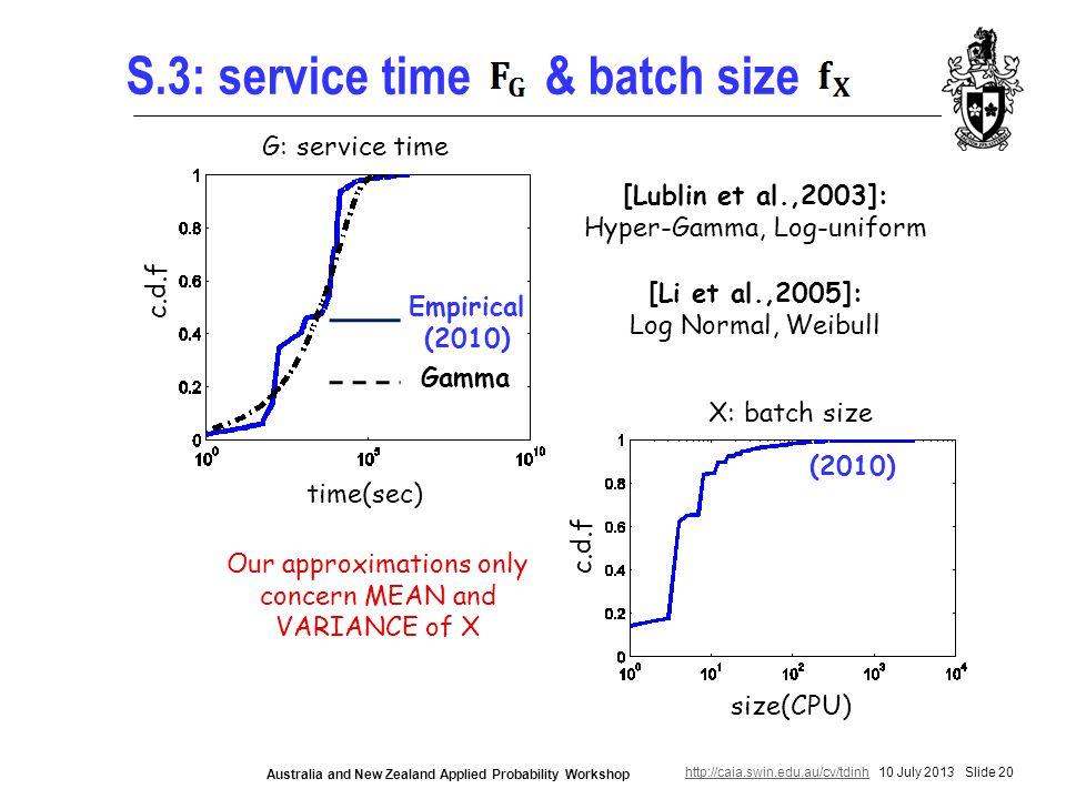 http://caia.swin.edu.au/cv/tdinhhttp://caia.swin.edu.au/cv/tdinh 10 July 2013 Slide 20 Australia and New Zealand Applied Probability Workshop S.3: service time & batch size [Lublin et al.,2003]: Hyper-Gamma, Log-uniform [Li et al.,2005]: Log Normal, Weibull Empirical (2010) Gamma time(sec) c.d.f size(CPU) c.d.f Our approximations only concern MEAN and VARIANCE of X X: batch size G: service time (2010)
