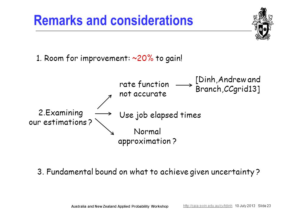 http://caia.swin.edu.au/cv/tdinhhttp://caia.swin.edu.au/cv/tdinh 10 July 2013 Slide 23 Australia and New Zealand Applied Probability Workshop Remarks and considerations 1.