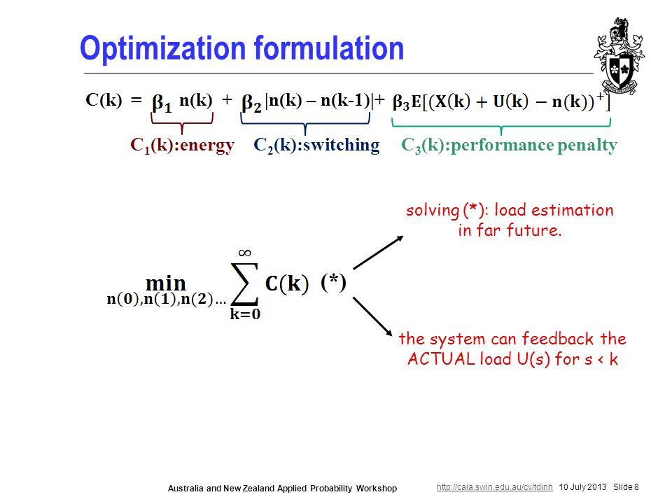 http://caia.swin.edu.au/cv/tdinhhttp://caia.swin.edu.au/cv/tdinh 10 July 2013 Slide 8 Australia and New Zealand Applied Probability Workshop Optimization formulation C(k) = n(k) + |n(k) – n(k-1)|+ C 1 (k):energyC 3 (k):performance penaltyC 2 (k):switching (*) solving (*): load estimation in far future.