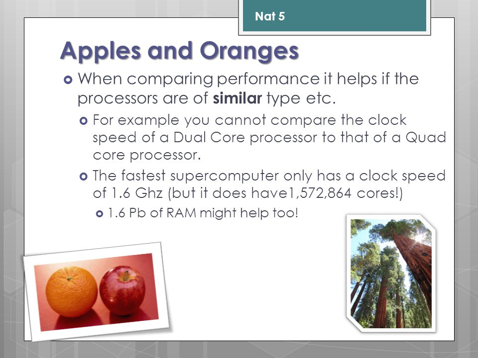 Apples and Oranges  When comparing performance it helps if the processors are of similar type etc.  For example you cannot compare the clock speed o