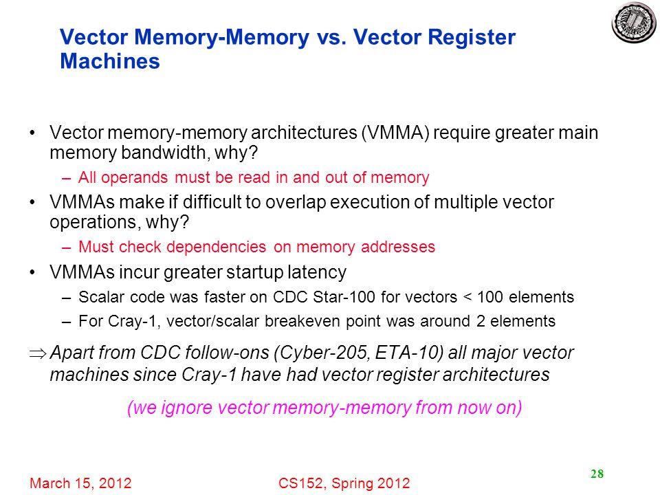 March 15, 2012CS152, Spring 2012 28 Vector Memory-Memory vs.
