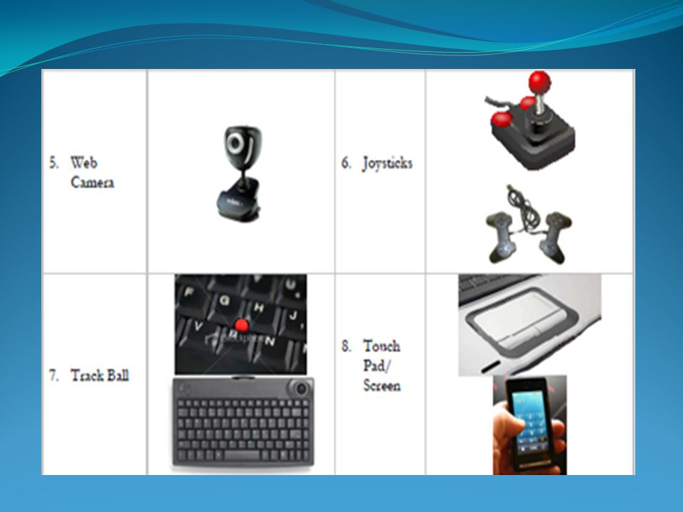 Major parts of the Computer Input Devices
