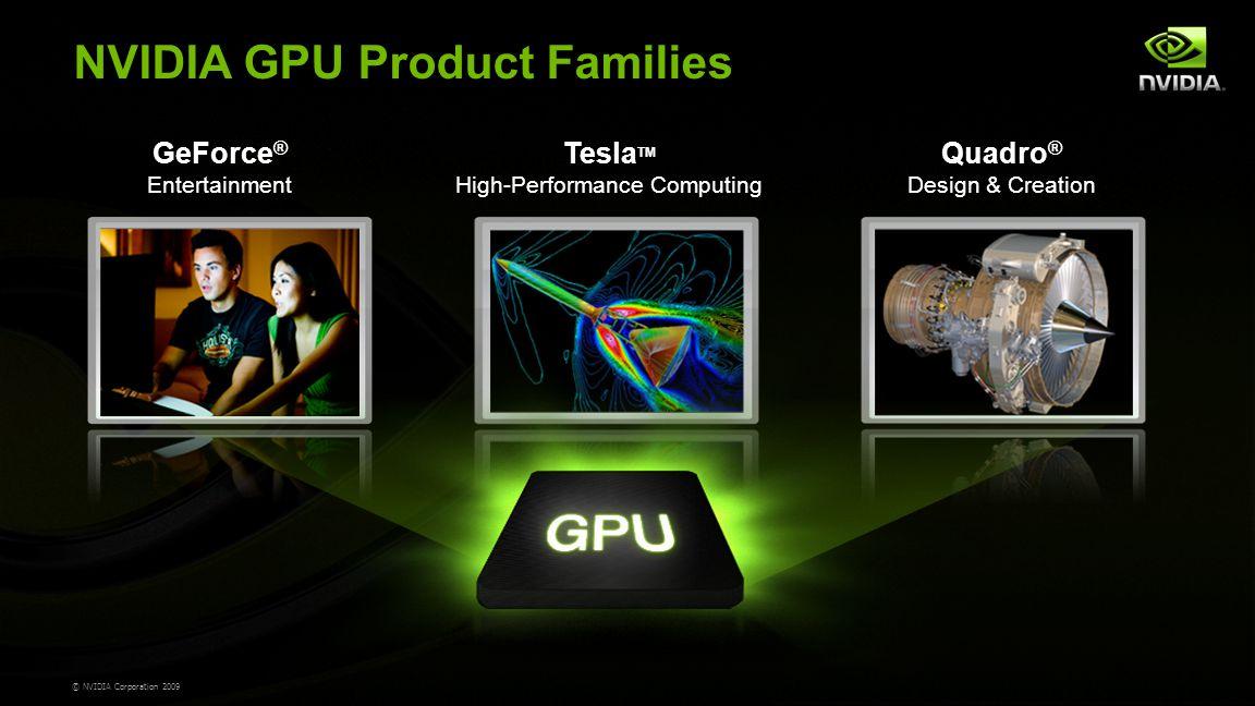 © NVIDIA Corporation 2009 Tesla TM High-Performance Computing Quadro ® Design & Creation GeForce ® Entertainment NVIDIA GPU Product Families