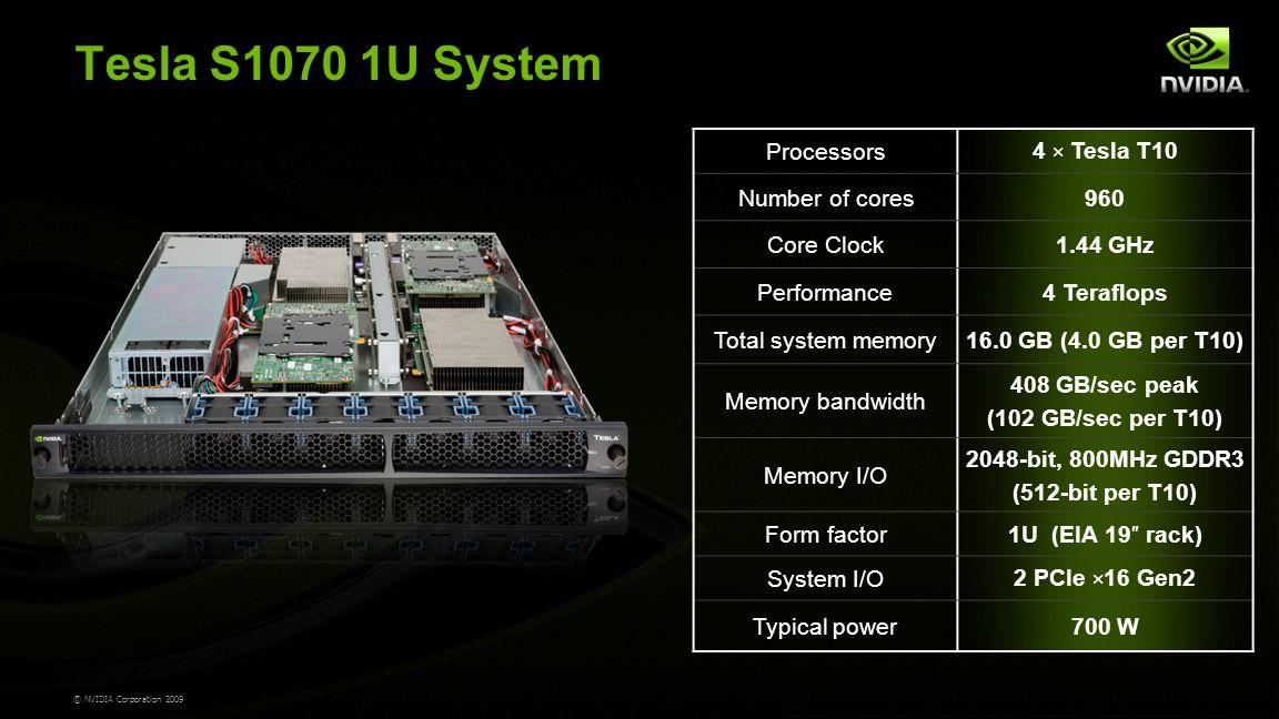 © NVIDIA Corporation 2009 Tesla S1070 1U System Processors 4 × Tesla T10 Number of cores960 Core Clock1.44 GHz Performance4 Teraflops Total system memory16.0 GB (4.0 GB per T10) Memory bandwidth 408 GB/sec peak (102 GB/sec per T10) Memory I/O 2048-bit, 800MHz GDDR3 (512-bit per T10) Form factor1U (EIA 19″ rack) System I/O 2 PCIe × 16 Gen2 Typical power700 W