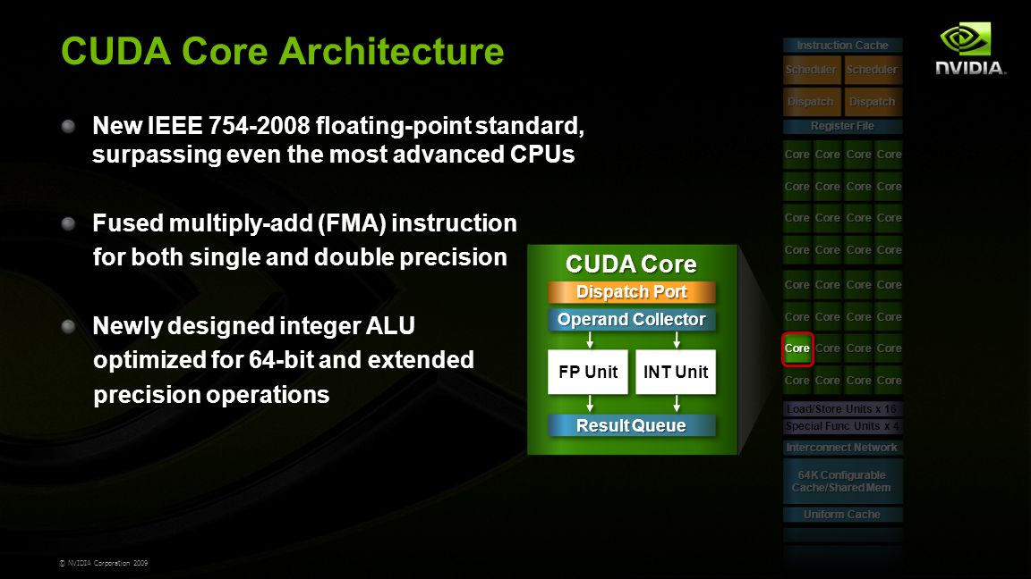 © NVIDIA Corporation 2009 CUDA Core Architecture Register File Scheduler Dispatch Scheduler Dispatch Load/Store Units x 16 Special Func Units x 4 Interconnect Network 64K Configurable Cache/Shared Mem Uniform Cache Core Core Core Core Core Core Core Core Core Core Core Core Core Core Core Core Core Core Core Core Core Core Core Core Core Core Core Core Core Core Core Core Instruction Cache CUDA Core Dispatch Port Operand Collector Result Queue FP UnitINT Unit New IEEE 754-2008 floating-point standard, surpassing even the most advanced CPUs Fused multiply-add (FMA) instruction for both single and double precision Newly designed integer ALU optimized for 64-bit and extended precision operations