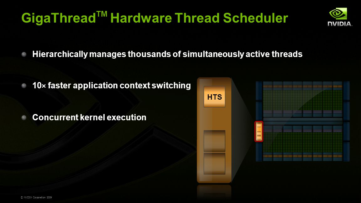 © NVIDIA Corporation 2009 GigaThread TM Hardware Thread Scheduler Hierarchically manages thousands of simultaneously active threads 10 × faster application context switching Concurrent kernel execution HTS