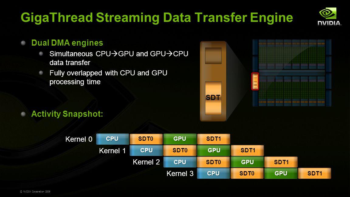 © NVIDIA Corporation 2009 GigaThread Streaming Data Transfer Engine Dual DMA engines Simultaneous CPU  GPU and GPU  CPU data transfer Fully overlapped with CPU and GPU processing time Activity Snapshot: SDT Kernel 0 Kernel 1 Kernel 2 Kernel 3 CPU CPU CPU CPU SDT0 GPU GPU GPU GPU SDT1