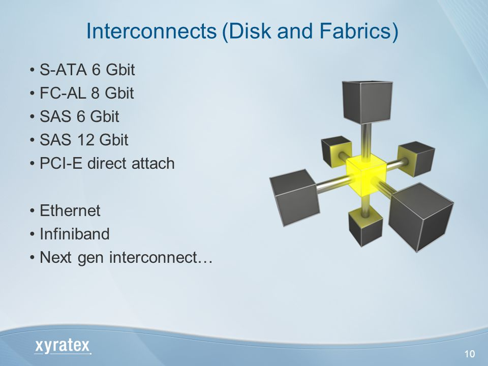 10 S-ATA 6 Gbit FC-AL 8 Gbit SAS 6 Gbit SAS 12 Gbit PCI-E direct attach Ethernet Infiniband Next gen interconnect… Interconnects (Disk and Fabrics)