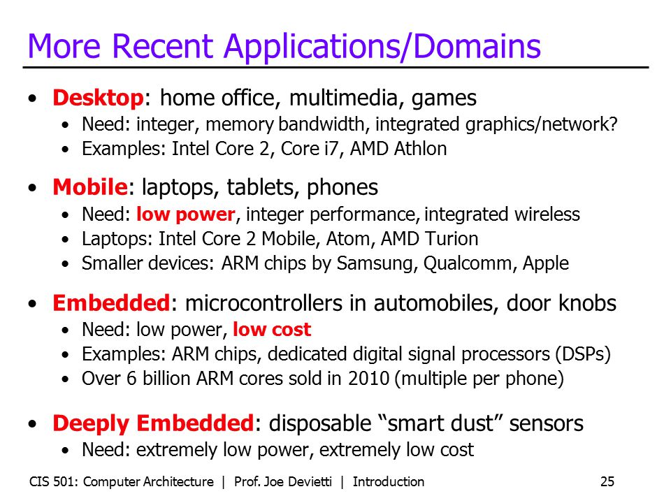 CIS 501: Computer Architecture | Prof. Joe Devietti | Introduction25 More Recent Applications/Domains Desktop: home office, multimedia, games Need: in