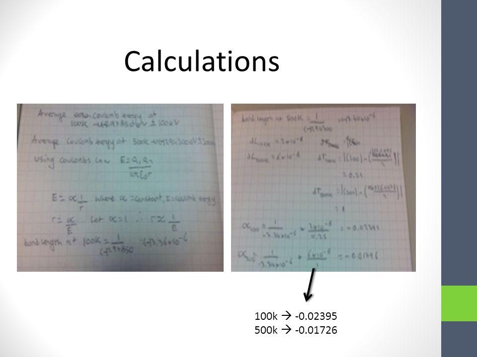 Calculations 100k  -0.02395 500k  -0.01726