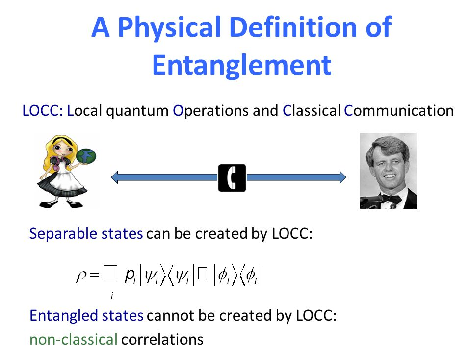 A Physical Definition of Entanglement LOCC: Local quantum Operations and Classical Communication Separable states can be created by LOCC: Entangled states cannot be created by LOCC: non-classical correlations