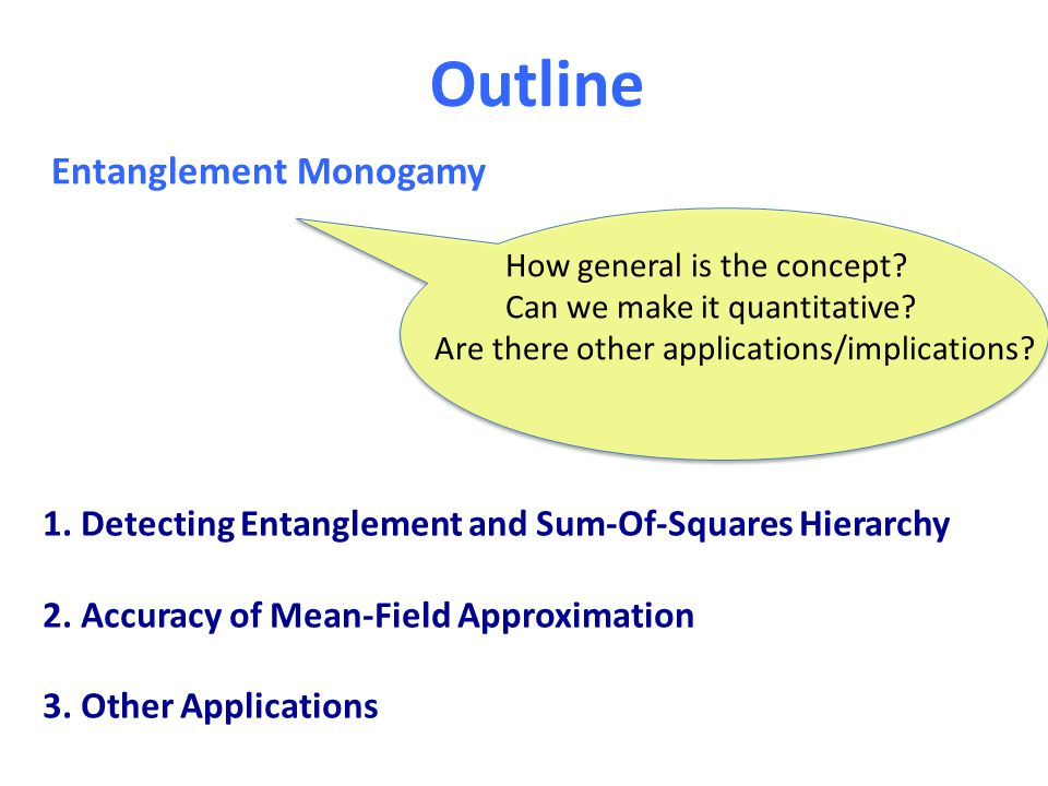 Outline Entanglement Monogamy How general is the concept? Can we make it quantitative? Are there other applications/implications? 1. Detecting Entangl