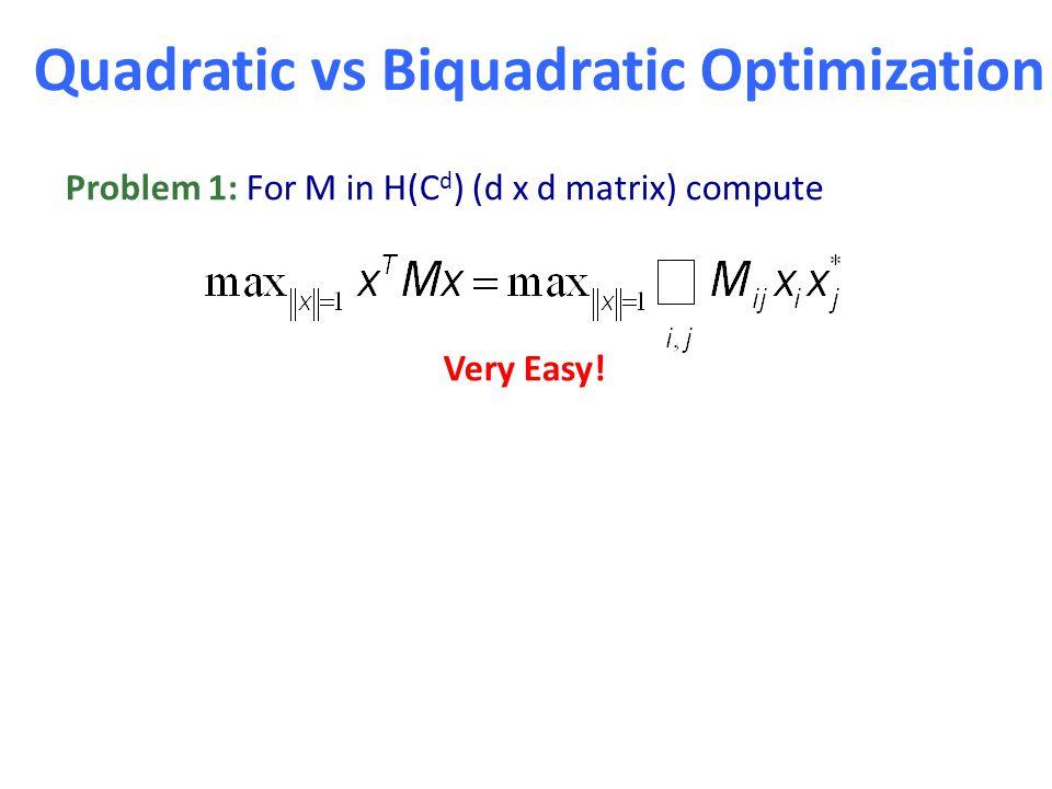 Problem 1: For M in H(C d ) (d x d matrix) compute Very Easy! Problem 2: For M in H(C d C l ), compute Quadratic vs Biquadratic Optimization Next: Bes