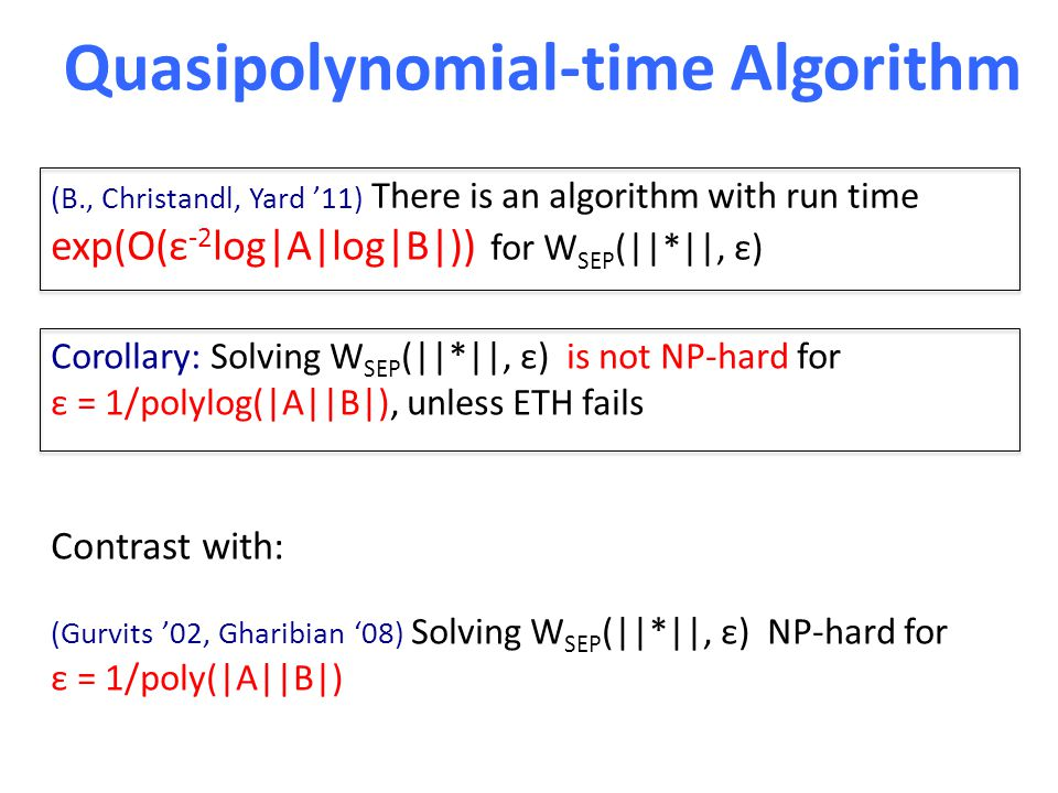 Quasipolynomial-time Algorithm (B., Christandl, Yard '11) There is an algorithm with run time exp(O(ε -2 log|A|log|B|)) for W SEP (||*||, ε) Corollary: Solving W SEP (||*||, ε) is not NP-hard for ε = 1/polylog(|A||B|), unless ETH fails Contrast with: (Gurvits '02, Gharibian '08) Solving W SEP (||*||, ε) NP-hard for ε = 1/poly(|A||B|)