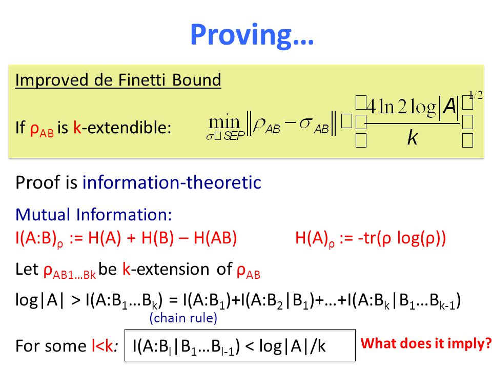 Proving… Proof is information-theoretic Mutual Information: I(A:B) ρ := H(A) + H(B) – H(AB) H(A) ρ := -tr(ρ log(ρ)) Let ρ AB1…Bk be k-extension of ρ A