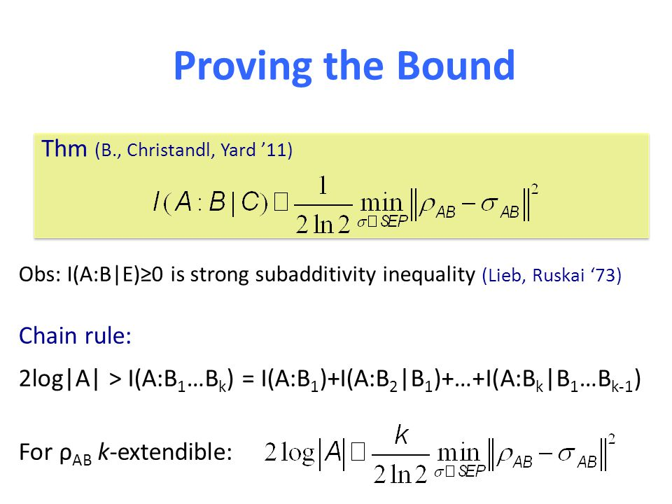 Obs: I(A:B|E)≥0 is strong subadditivity inequality (Lieb, Ruskai '73) Chain rule: 2log|A| > I(A:B 1 …B k ) = I(A:B 1 )+I(A:B 2 |B 1 )+…+I(A:B k |B 1 …B k-1 ) For ρ AB k-extendible: Proving the Bound Thm (B., Christandl, Yard '11)