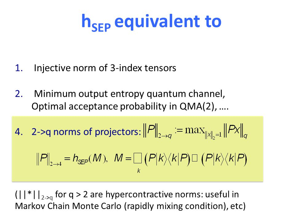 h SEP equivalent to 1. Injective norm of 3-index tensors 2.