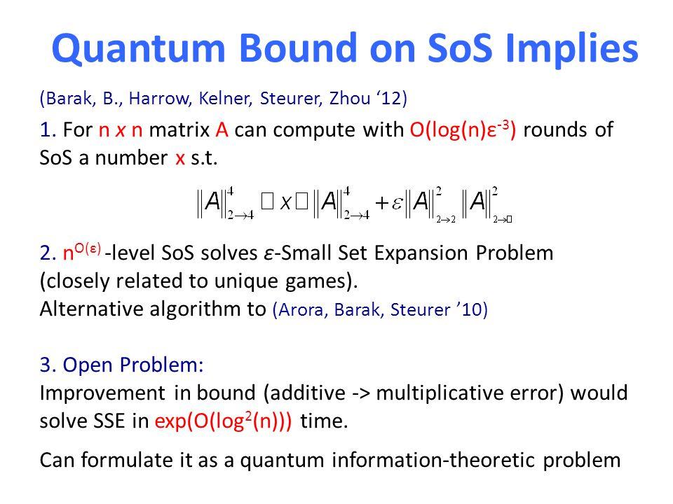Quantum Bound on SoS Implies 1. For n x n matrix A can compute with O(log(n)ε -3 ) rounds of SoS a number x s.t. 2. n O(ε) -level SoS solves ε-Small S