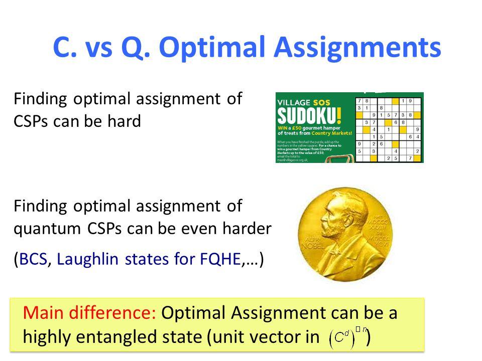 C. vs Q. Optimal Assignments Finding optimal assignment of CSPs can be hard Finding optimal assignment of quantum CSPs can be even harder (BCS, Laughl