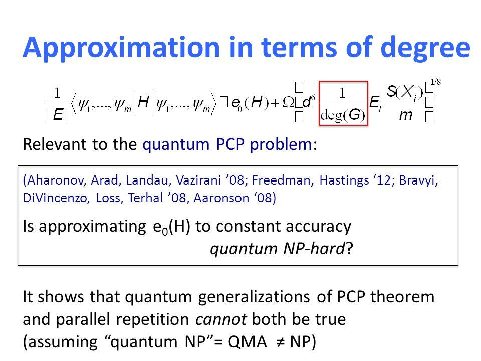Approximation in terms of degree Relevant to the quantum PCP problem: (Aharonov, Arad, Landau, Vazirani '08; Freedman, Hastings '12; Bravyi, DiVincenz