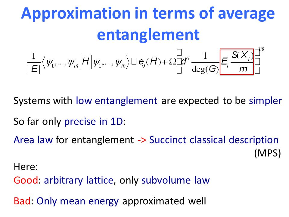 Approximation in terms of average entanglement Systems with low entanglement are expected to be simpler So far only precise in 1D: Area law for entanglement -> Succinct classical description (MPS) Here: Good: arbitrary lattice, only subvolume law Bad: Only mean energy approximated well