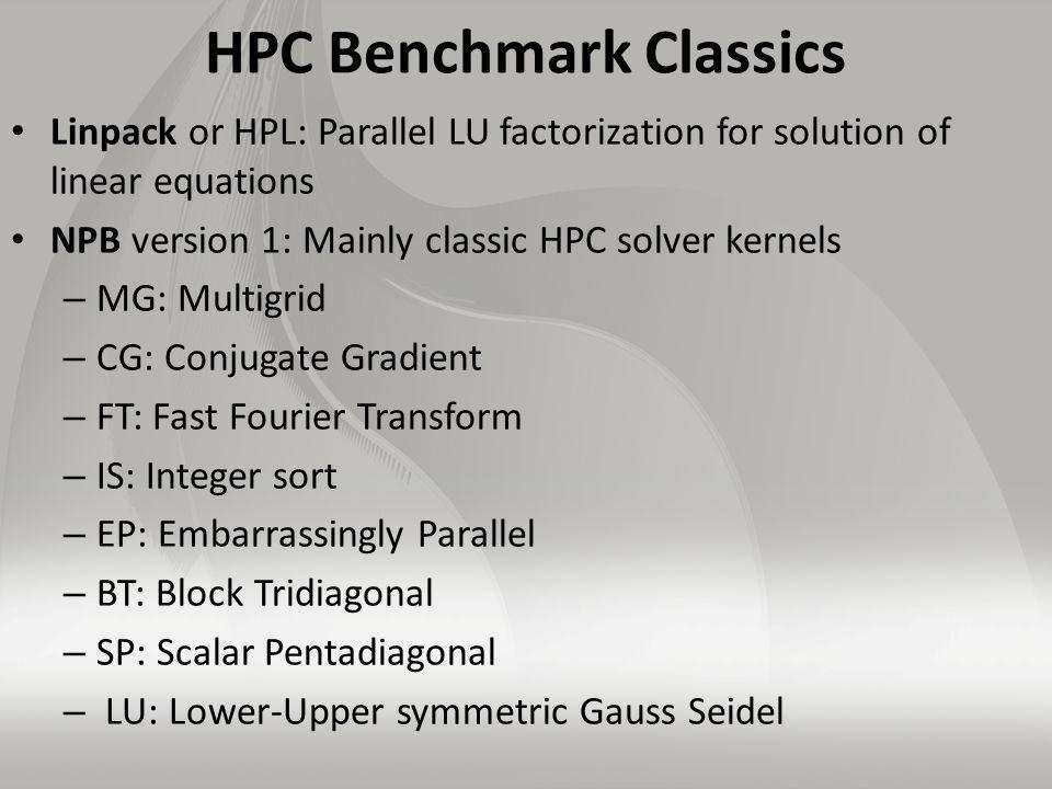 HPC Benchmark Classics Linpack or HPL: Parallel LU factorization for solution of linear equations NPB version 1: Mainly classic HPC solver kernels – MG: Multigrid – CG: Conjugate Gradient – FT: Fast Fourier Transform – IS: Integer sort – EP: Embarrassingly Parallel – BT: Block Tridiagonal – SP: Scalar Pentadiagonal – LU: Lower-Upper symmetric Gauss Seidel