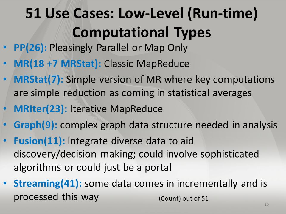 51 Use Cases: Low-Level (Run-time) Computational Types PP(26): Pleasingly Parallel or Map Only MR(18 +7 MRStat): Classic MapReduce MRStat(7): Simple version of MR where key computations are simple reduction as coming in statistical averages MRIter(23): Iterative MapReduce Graph(9): complex graph data structure needed in analysis Fusion(11): Integrate diverse data to aid discovery/decision making; could involve sophisticated algorithms or could just be a portal Streaming(41): some data comes in incrementally and is processed this way 15 (Count) out of 51
