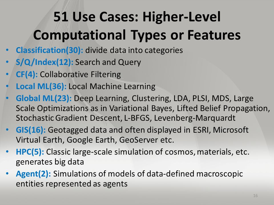 51 Use Cases: Higher-Level Computational Types or Features Classification(30): divide data into categories S/Q/Index(12): Search and Query CF(4): Collaborative Filtering Local ML(36): Local Machine Learning Global ML(23): Deep Learning, Clustering, LDA, PLSI, MDS, Large Scale Optimizations as in Variational Bayes, Lifted Belief Propagation, Stochastic Gradient Descent, L-BFGS, Levenberg-Marquardt GIS(16): Geotagged data and often displayed in ESRI, Microsoft Virtual Earth, Google Earth, GeoServer etc.