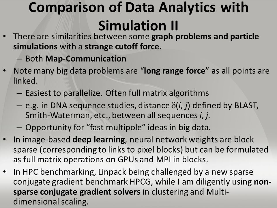 Comparison of Data Analytics with Simulation II There are similarities between some graph problems and particle simulations with a strange cutoff force.