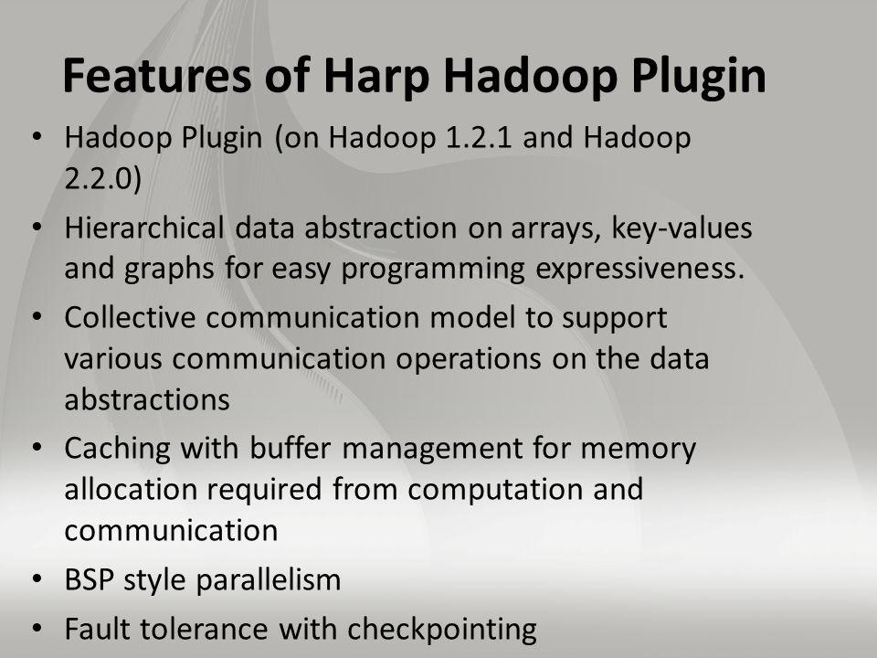Features of Harp Hadoop Plugin Hadoop Plugin (on Hadoop 1.2.1 and Hadoop 2.2.0) Hierarchical data abstraction on arrays, key-values and graphs for easy programming expressiveness.