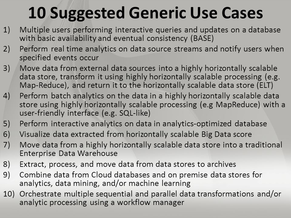 10 Suggested Generic Use Cases 1)Multiple users performing interactive queries and updates on a database with basic availability and eventual consistency (BASE) 2)Perform real time analytics on data source streams and notify users when specified events occur 3)Move data from external data sources into a highly horizontally scalable data store, transform it using highly horizontally scalable processing (e.g.