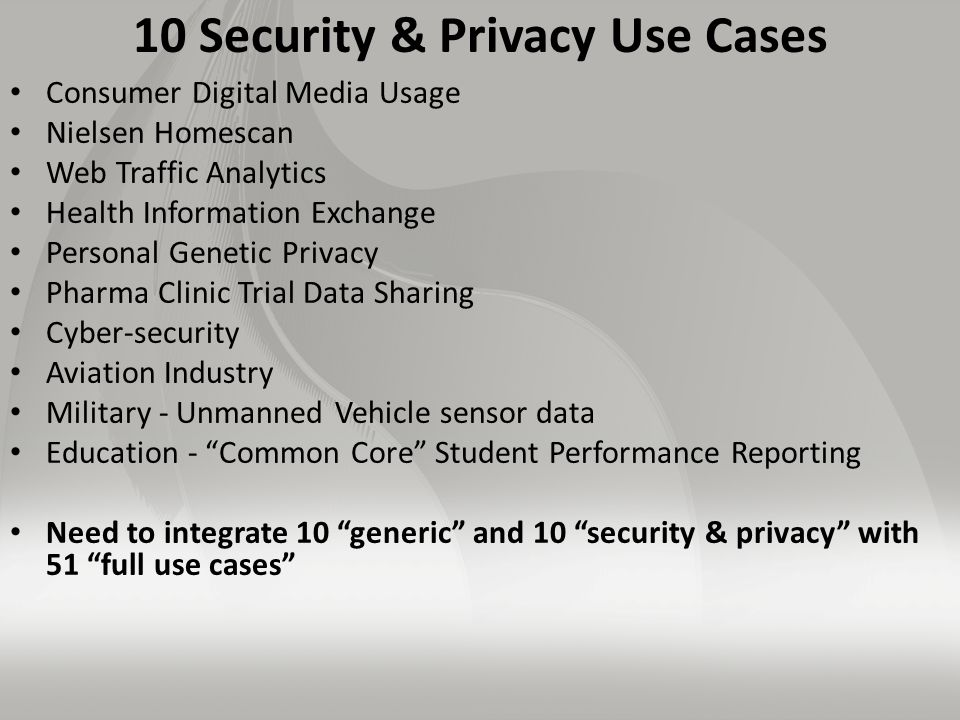 10 Security & Privacy Use Cases Consumer Digital Media Usage Nielsen Homescan Web Traffic Analytics Health Information Exchange Personal Genetic Privacy Pharma Clinic Trial Data Sharing Cyber-security Aviation Industry Military - Unmanned Vehicle sensor data Education - Common Core Student Performance Reporting Need to integrate 10 generic and 10 security & privacy with 51 full use cases