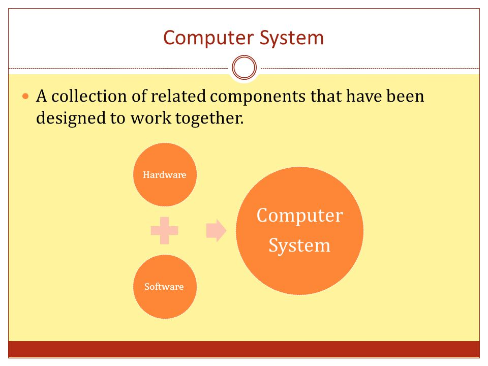 Computer System A collection of related components that have been designed to work together.