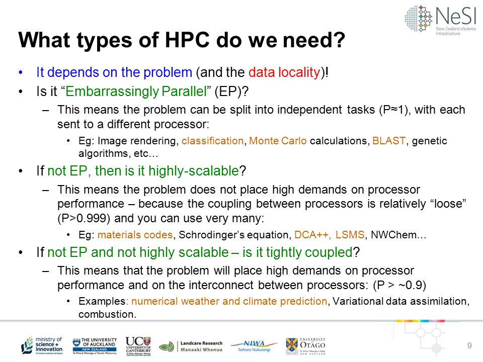 What types of HPC do we need. It depends on the problem (and the data locality).