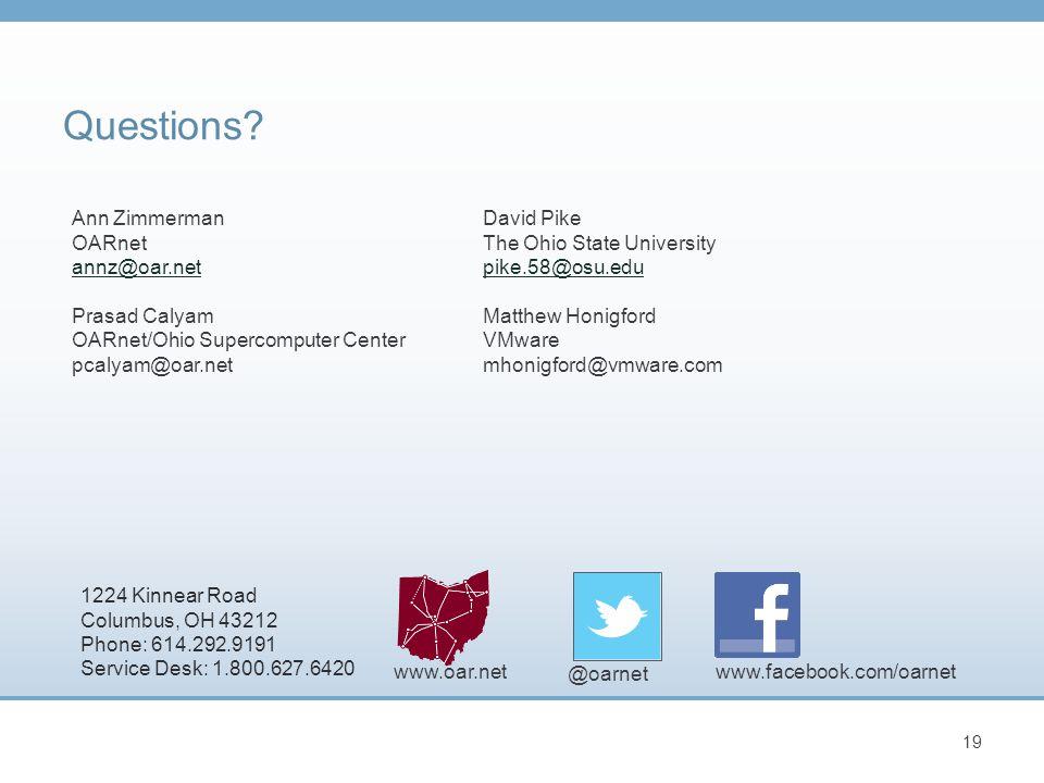 www.facebook.com/oarnet @oarnet www.oar.net 1224 Kinnear Road Columbus, OH 43212 Phone: 614.292.9191 Service Desk: 1.800.627.6420 19 Questions.