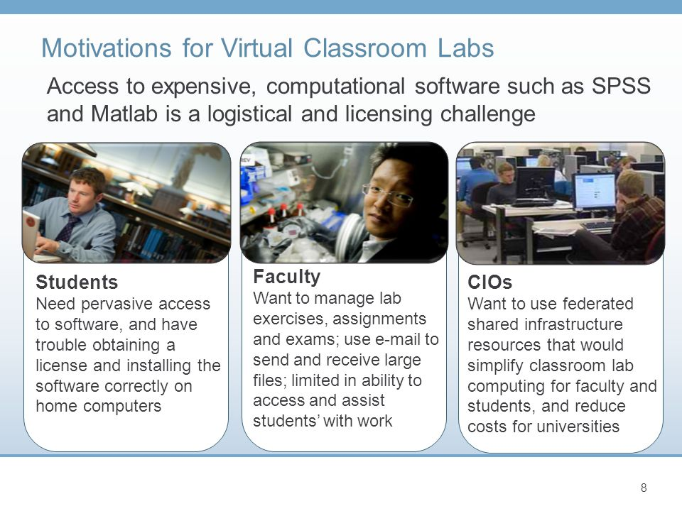 Motivations for Virtual Classroom Labs 8 Students Need pervasive access to software, and have trouble obtaining a license and installing the software