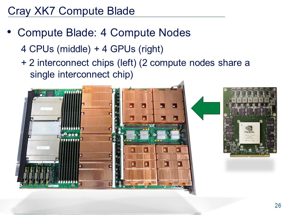 Cray XK7 Compute Blade Compute Blade: 4 Compute Nodes 4 CPUs (middle) + 4 GPUs (right) + 2 interconnect chips (left) (2 compute nodes share a single interconnect chip) 26