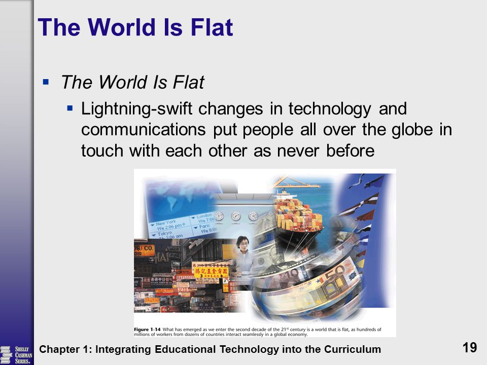 The World Is Flat  The World Is Flat  Lightning-swift changes in technology and communications put people all over the globe in touch with each other as never before Chapter 1: Integrating Educational Technology into the Curriculum 19