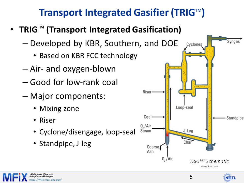 https://mfix.netl.doe.gov/ The MFIX simulation of the TRIG TM gasifier showed very good agreement with PSDF operating data over a broad range of operating conditions for Mississippi lignite fuel – Syngas composition and temperature profiles are in good agreement with PSDF data – Predicted pressure drops for all conditions match data well for most locations - except for the Lower Mixing Zone Model underpredicts the solids loading in the LMZ Use of PC Coal Lab database and C3M software provides accurate devolatilization and gasification kinetics – Kinetic parameters were accurate for all operating conditions Improvement in prediction of LMZ solids loading is needed – May be potential for size segregation - lower mixing zone could accumulate larger size particles from recycle flow – Model may need to consider a distribution of sizes to allow for size segregation at the J-leg return Conclusions 16