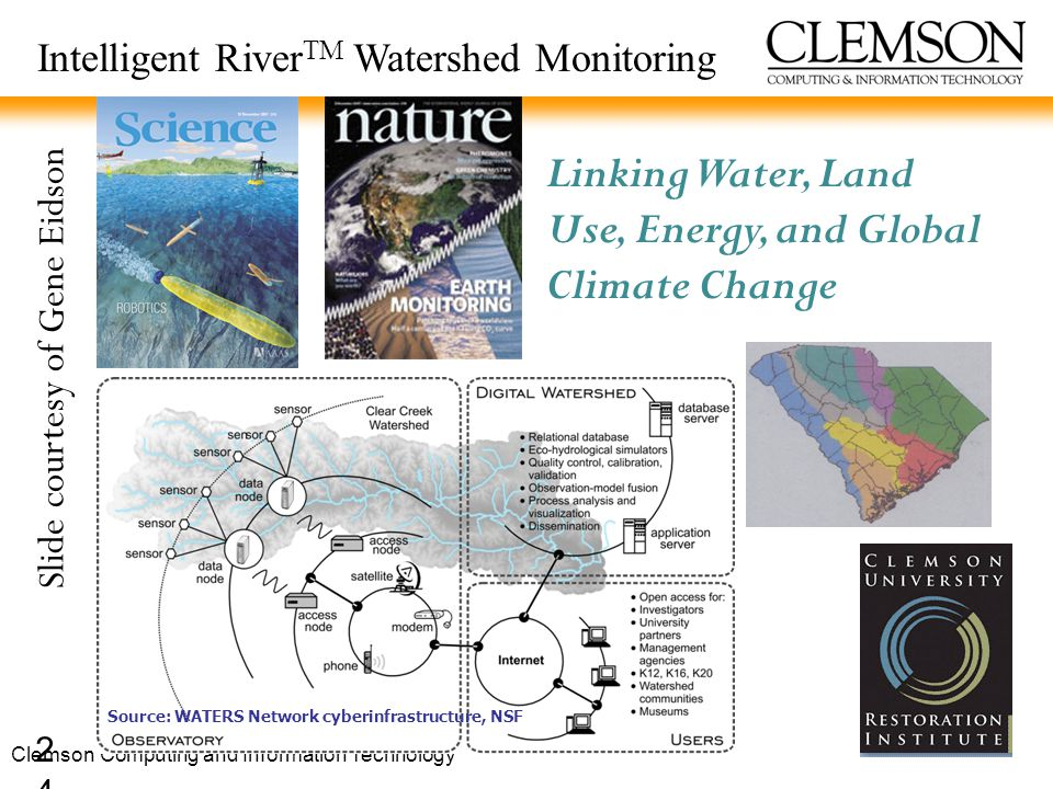 24 Intelligent River TM Watershed Monitoring Linking Water, Land Use, Energy, and Global Climate Change Source: WATERS Network cyberinfrastructure, NSF Slide courtesy of Gene Eidson