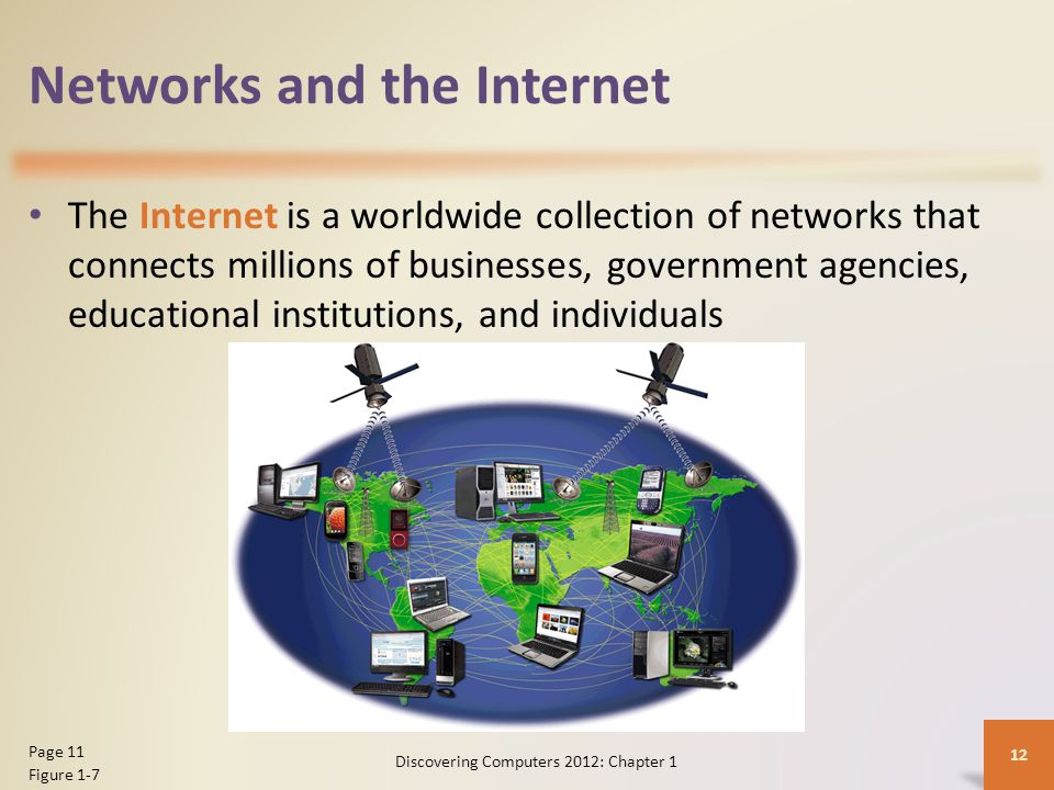 Networks and the Internet The Internet is a worldwide collection of networks that connects millions of businesses, government agencies, educational institutions, and individuals Discovering Computers 2012: Chapter 1 12 Page 11 Figure 1-7