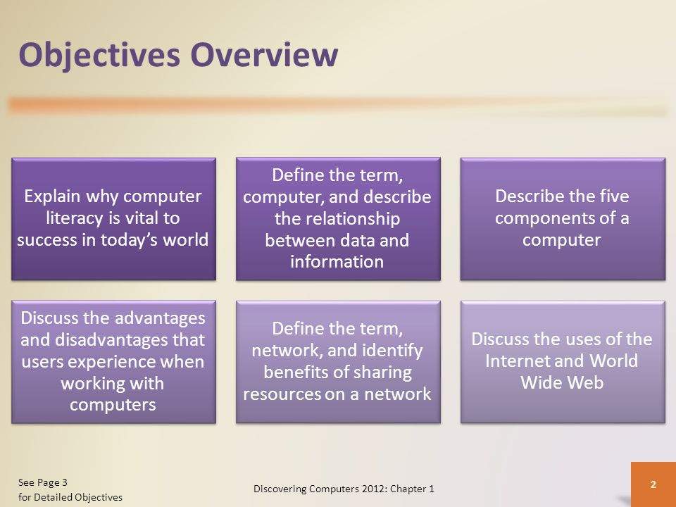 Objectives Overview Explain why computer literacy is vital to success in today's world Define the term, computer, and describe the relationship between data and information Describe the five components of a computer Discuss the advantages and disadvantages that users experience when working with computers Define the term, network, and identify benefits of sharing resources on a network Discuss the uses of the Internet and World Wide Web Discovering Computers 2012: Chapter 1 2 See Page 3 for Detailed Objectives