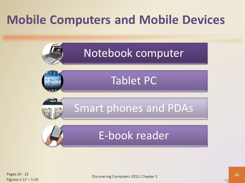 Mobile Computers and Mobile Devices Notebook computer Tablet PC Smart phones and PDAs E-book reader Discovering Computers 2012: Chapter 1 21 Pages 20 - 22 Figures 1-17 – 1-20
