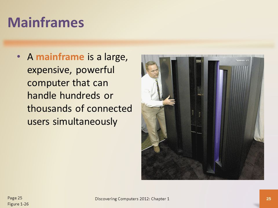 Mainframes A mainframe is a large, expensive, powerful computer that can handle hundreds or thousands of connected users simultaneously Discovering Computers 2012: Chapter 1 25 Page 25 Figure 1-26