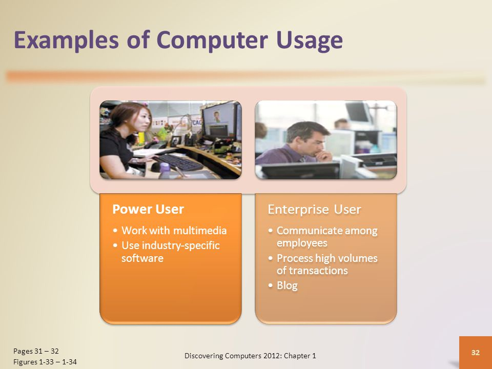 Examples of Computer Usage Power User Work with multimedia Use industry-specific software Enterprise User Communicate among employees Process high volumes of transactions Blog Discovering Computers 2012: Chapter 1 32 Pages 31 – 32 Figures 1-33 – 1-34