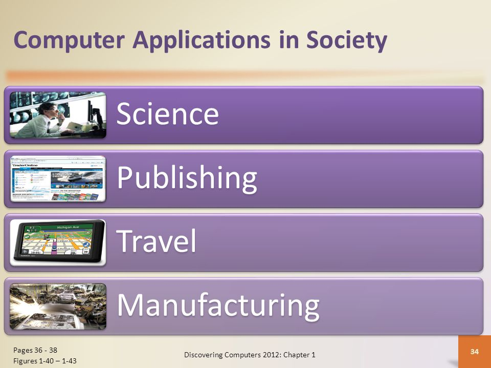 Computer Applications in Society Science Publishing Travel Manufacturing Discovering Computers 2012: Chapter 1 34 Pages 36 - 38 Figures 1-40 – 1-43