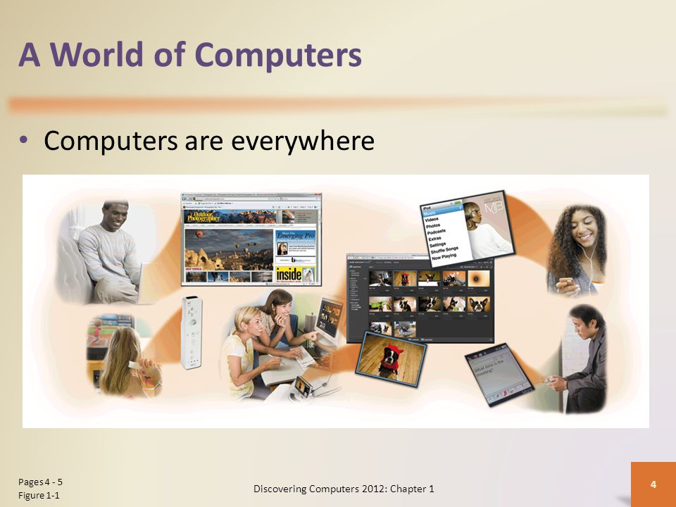 A World of Computers Computers are everywhere Discovering Computers 2012: Chapter 1 4 Pages Figure 1-1